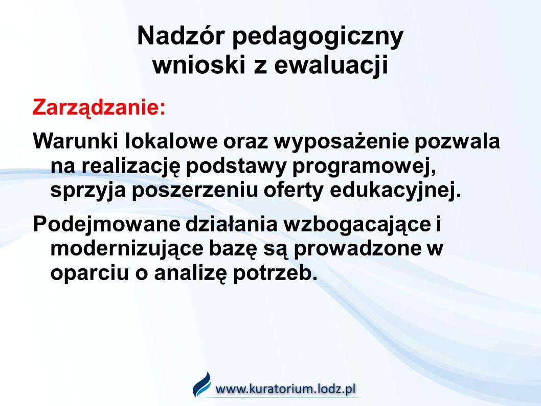 Nadzór pedagogiczny wnioski z ewaluacji Zarządzanie: Warunki lokalowe oraz wyposażenie pozwala na realizację podstawy programowej, sprzyja poszerzeniu oferty edukacyjnej.