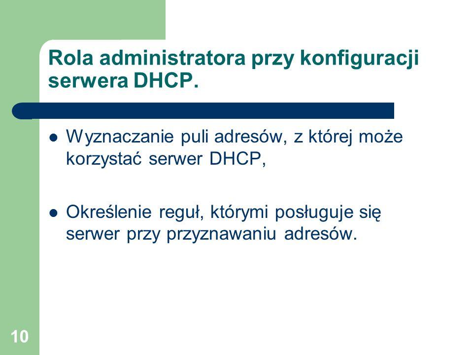 10 Rola administratora przy konfiguracji serwera DHCP. Wyznaczanie puli adresów, z której może korzystać serwer DHCP, Określenie reguł, którymi posług