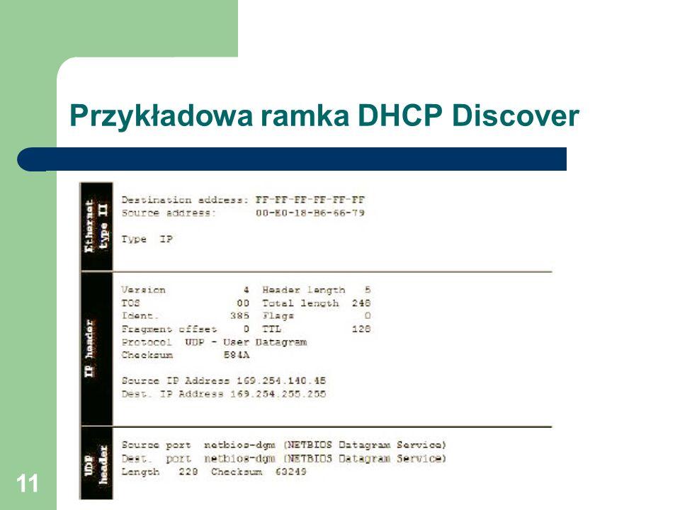 11 Przykładowa ramka DHCP Discover
