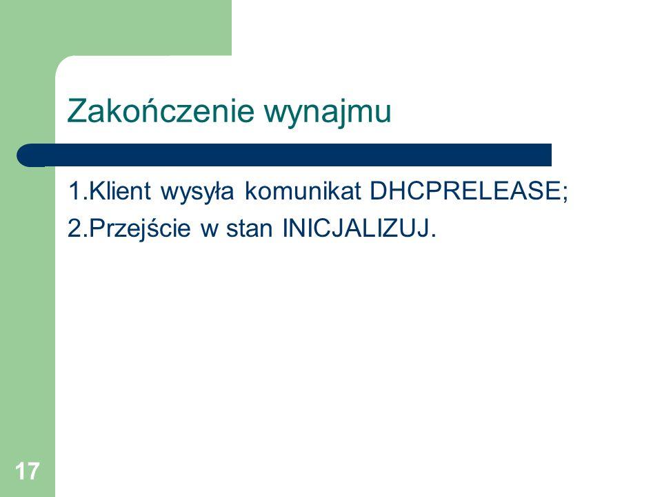 17 Zakończenie wynajmu 1.Klient wysyła komunikat DHCPRELEASE; 2.Przejście w stan INICJALIZUJ.