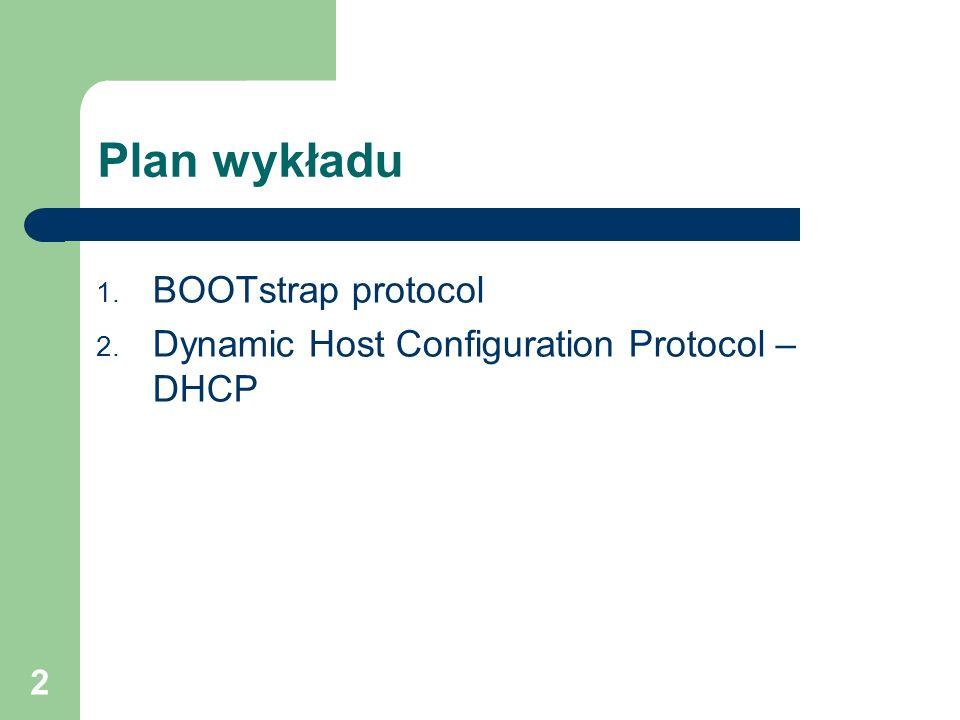 3 BOOTstrap Protocol – BOOTP Protokół BOOTP służy do określenia przy starcie jednostki wszystkich informacji potrzebnych do jej działania w sieci TCP/IP np.