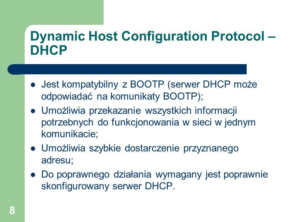 19 Opcje Aby określić, który z komunikatów DHCP jest wysyłany należy następująco ustalić opcje: KOD = 53; DŁUGOŚĆ = 1; WARTOŚĆ = 1 – 7; 1 – DHCPDISCOVER 2 – DHCPOFFER 3 – DHCPREQUEST 4 – DHCPDECLINE 5 – DHCPACK 6 – DHCPNACK 7 – DHCPRELEASE