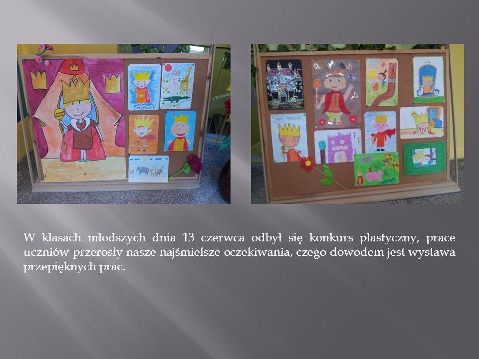 W klasach młodszych dnia 13 czerwca odbył się konkurs plastyczny, prace uczniów przerosły nasze najśmielsze oczekiwania, czego dowodem jest wystawa pr