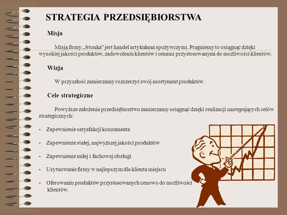 STRATEGIA PRZEDSIĘBIORSTWA Misja Misją firmy Stonka jest handel artykułami spożywczymi. Pragniemy to osiągnąć dzięki wysokiej jakości produktów, zadow