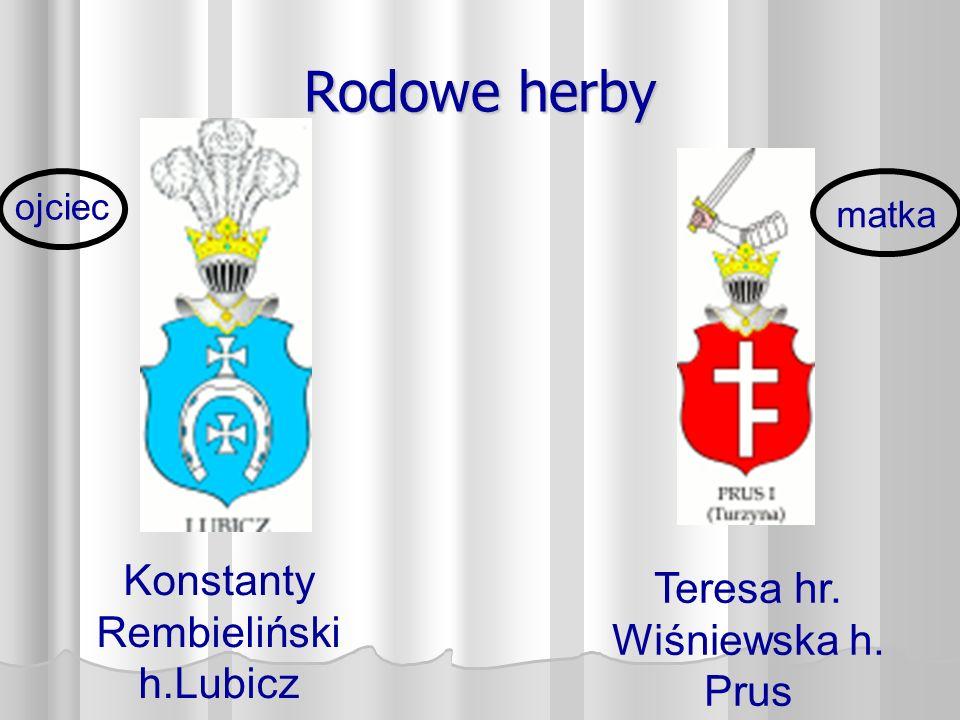 Rodowe herby Konstanty Rembieliński h.Lubicz Teresa hr. Wiśniewska h. Prus ojciec matka