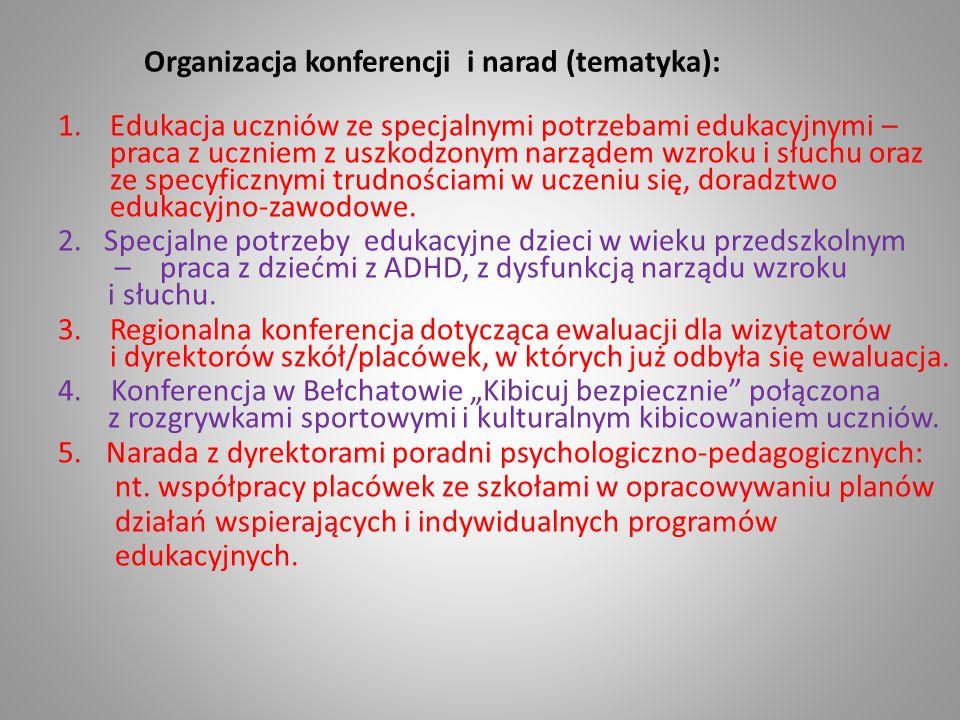 Organizacja konferencji i narad (tematyka): 1.Edukacja uczniów ze specjalnymi potrzebami edukacyjnymi – praca z uczniem z uszkodzonym narządem wzroku