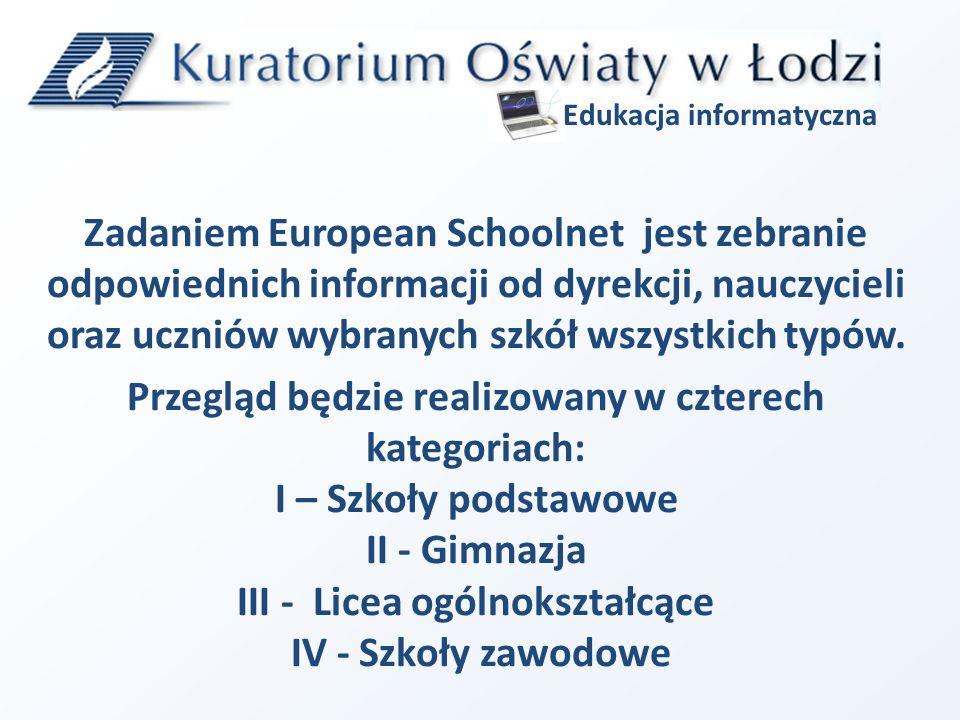 Zadaniem European Schoolnet jest zebranie odpowiednich informacji od dyrekcji, nauczycieli oraz uczniów wybranych szkół wszystkich typów.