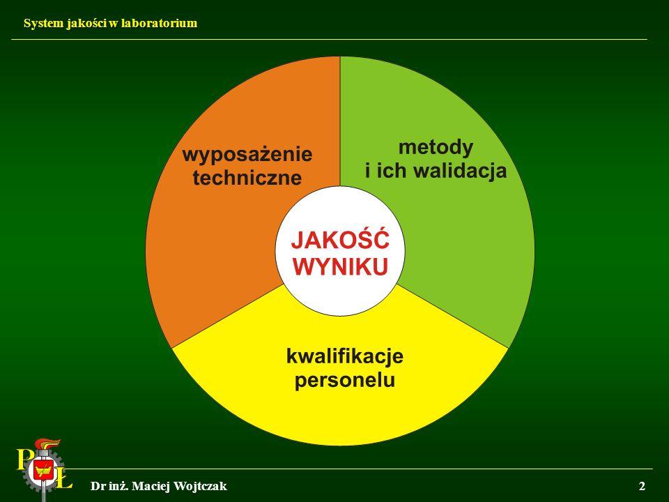 System jakości w laboratorium Dr inż. Maciej Wojtczak2