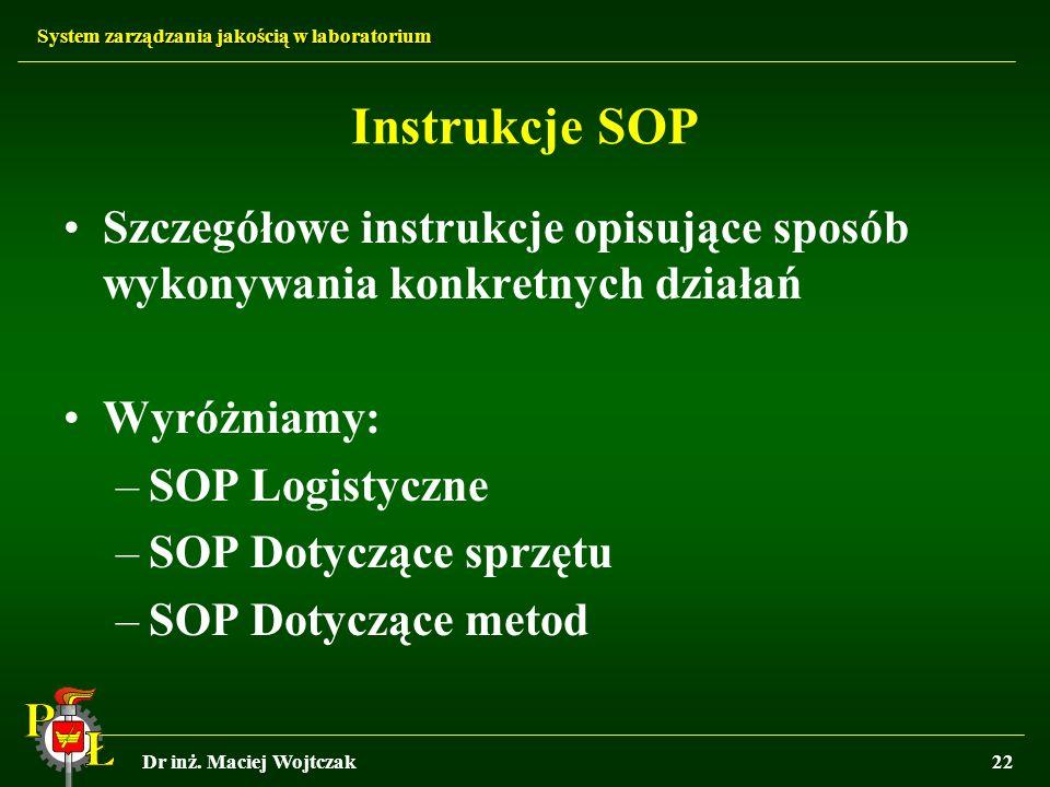 System zarządzania jakością w laboratorium Dr inż. Maciej Wojtczak22 Instrukcje SOP Szczegółowe instrukcje opisujące sposób wykonywania konkretnych dz
