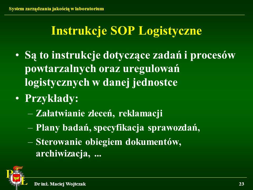 System zarządzania jakością w laboratorium Dr inż. Maciej Wojtczak23 Instrukcje SOP Logistyczne Są to instrukcje dotyczące zadań i procesów powtarzaln