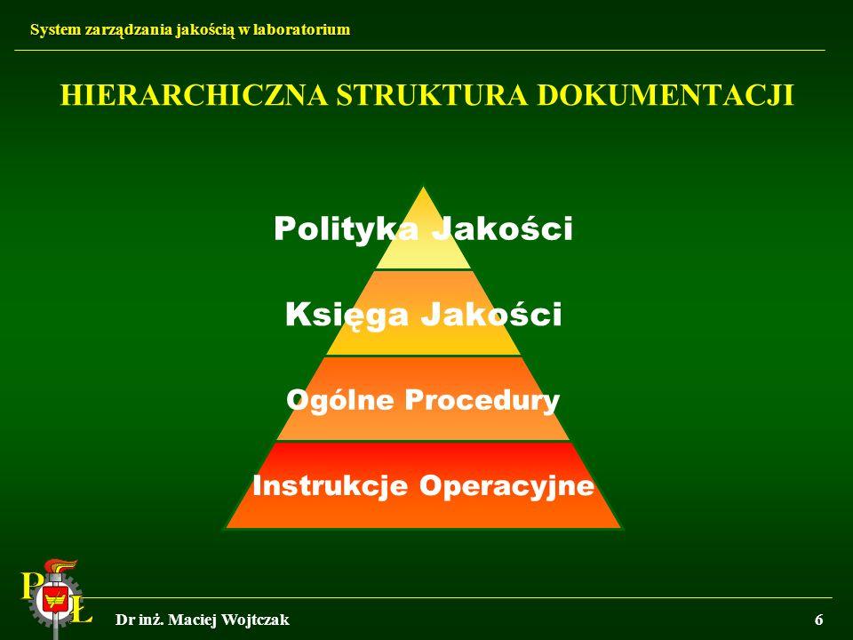 System zarządzania jakością w laboratorium Dr inż. Maciej Wojtczak6 HIERARCHICZNA STRUKTURA DOKUMENTACJI Polityka Jakości Księga Jakości Ogólne Proced