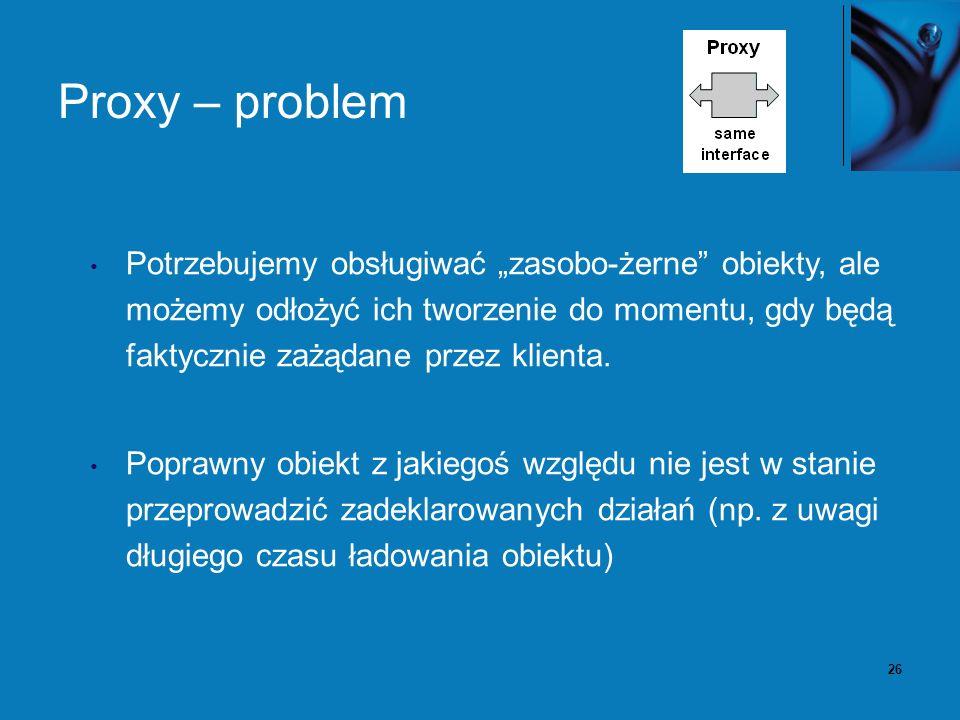 27 Proxy – rozwiązanie Wprowadzamy dodatkową warstwę pośredniczącą, która dostarcza dodatkową funkcjonalność: rozproszoną komunikację logowanie, rewizje, smart-pointer (sprytny wskaźnik).