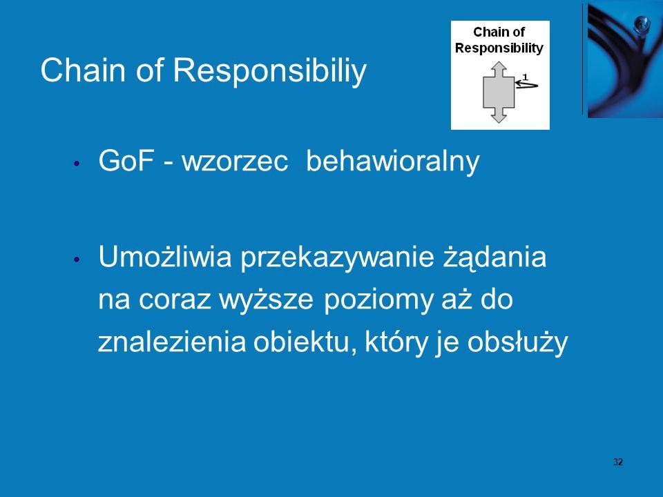 33 Chain of Responsibiliy – problem Mamy potencjalnie zmienną liczbę obiektów obsługujących bądź przetwarzających oraz strumień żądań.