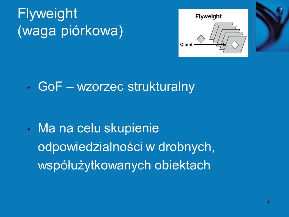 41 Flyweight – problem Zaprojektowanie obiektów, tak aby otrzymać możliwie najniższy poziom ziarnistości, dostarcza optymalnej elastyczności, ale może być nie akceptowalne z punktu widzenia wydajności i zużycia pamięci.