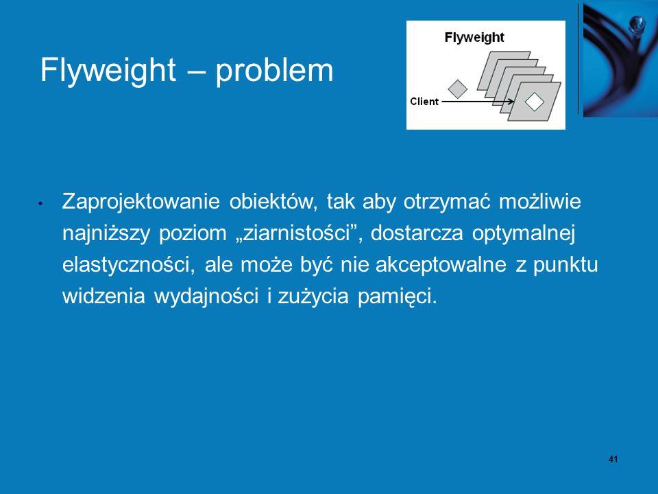 42 Flyweight – rozwiązanie Pozostawiamy w klasie stan niezależny od instancji.
