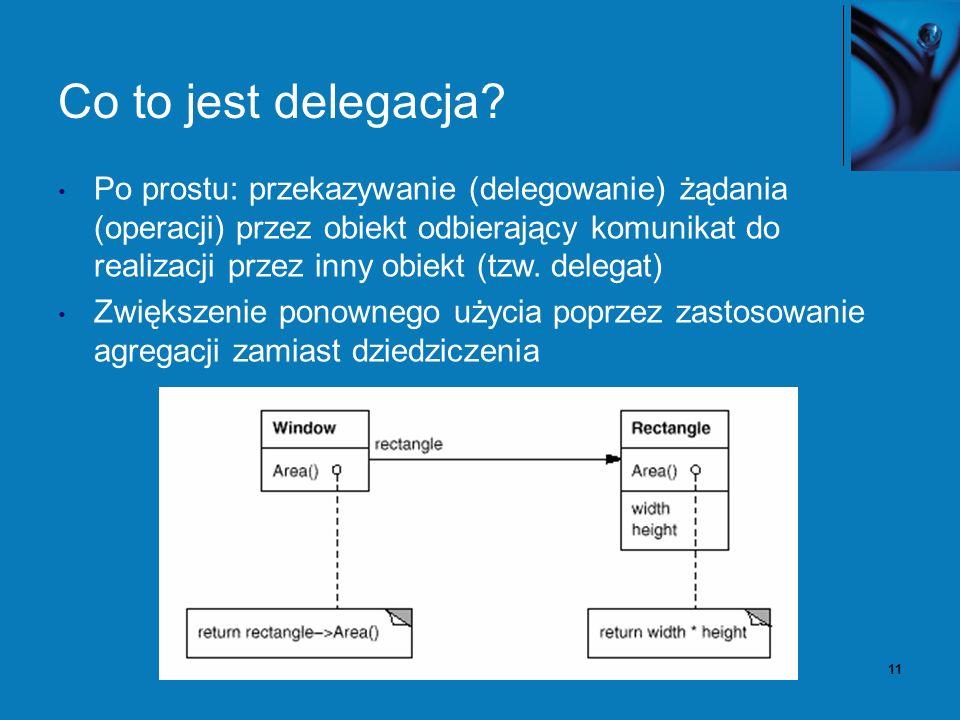 12 Delegacja – przykład C# // <- Deklaracja (typu) delegacji mogącej wywoływać metody pobierające parametr typu string i zwracające int.