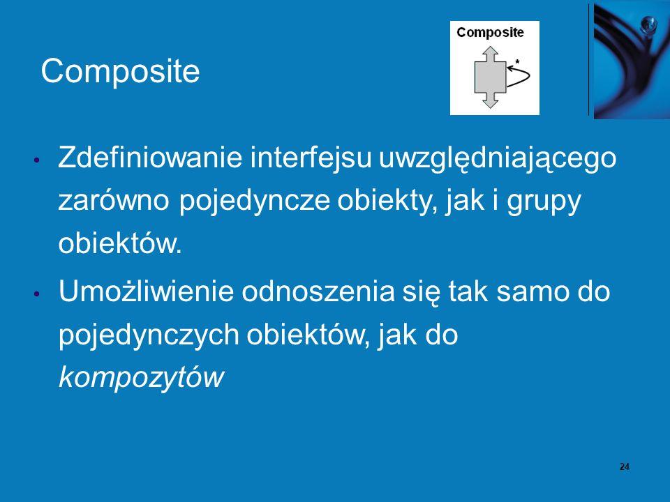 25 Composite - Problem Dekompozycja złożonego obiektu na hierarchię obiektów część-całość Klient nie powinien rozróżniać między kompozycją wielu obiektów, a pojedynczym obiektem.
