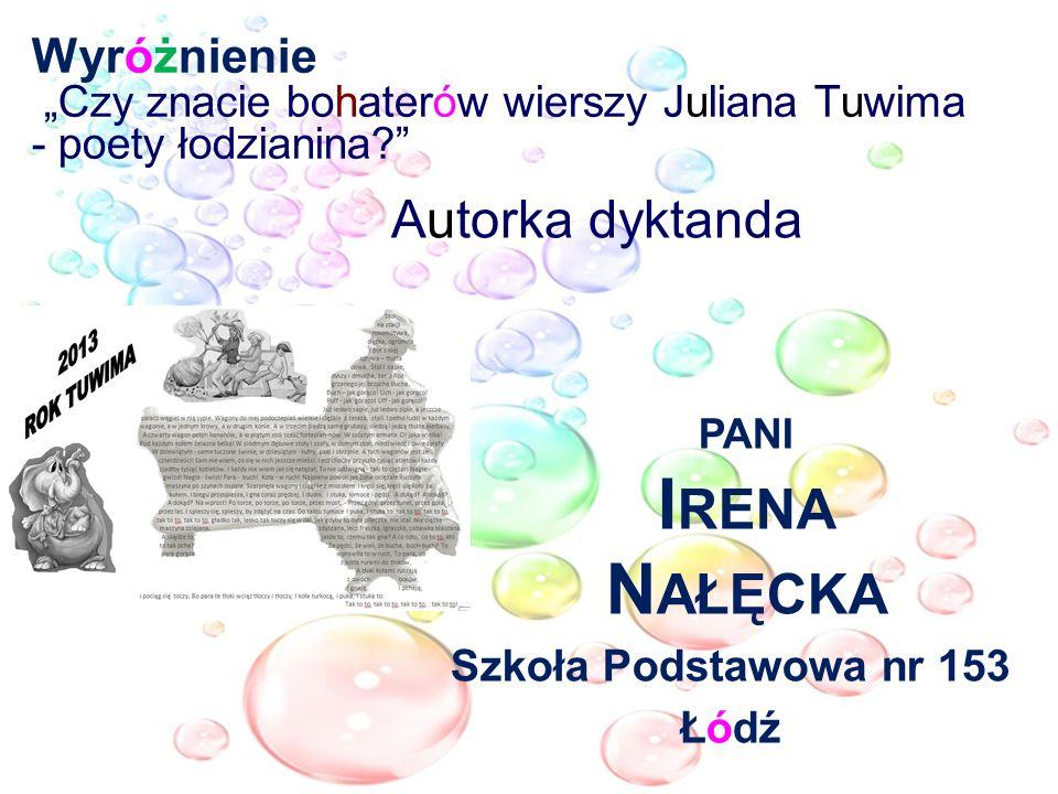 Wyróżnienie Czy znacie bohaterów wierszy Juliana Tuwima - poety łodzianina? Autorka dyktanda PANI I RENA N AŁĘCKA Szkoła Podstawowa nr 153 Łódź