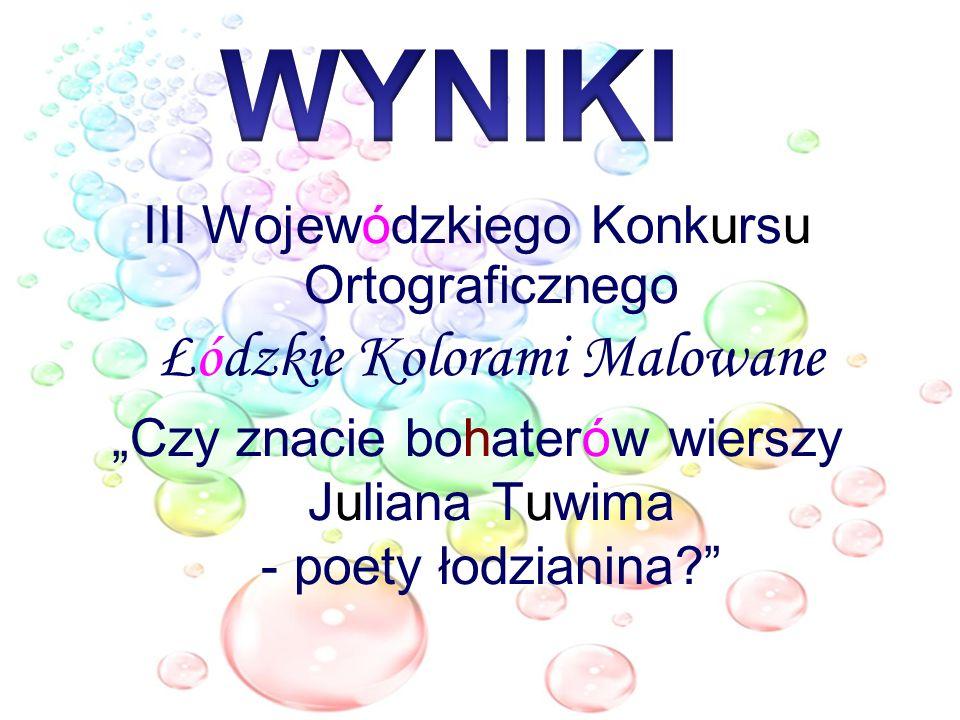 III Wojewódzkiego Konkursu Ortograficznego Łódzkie Kolorami Malowane Czy znacie bohaterów wierszy Juliana Tuwima - poety łodzianina?