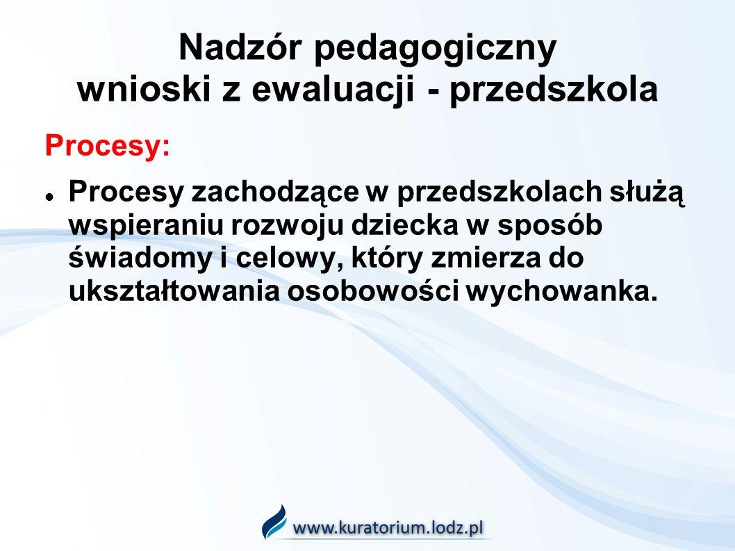Nadzór pedagogiczny wnioski z ewaluacji - przedszkola Procesy: Procesy zachodzące w przedszkolach służą wspieraniu rozwoju dziecka w sposób świadomy i celowy, który zmierza do ukształtowania osobowości wychowanka.