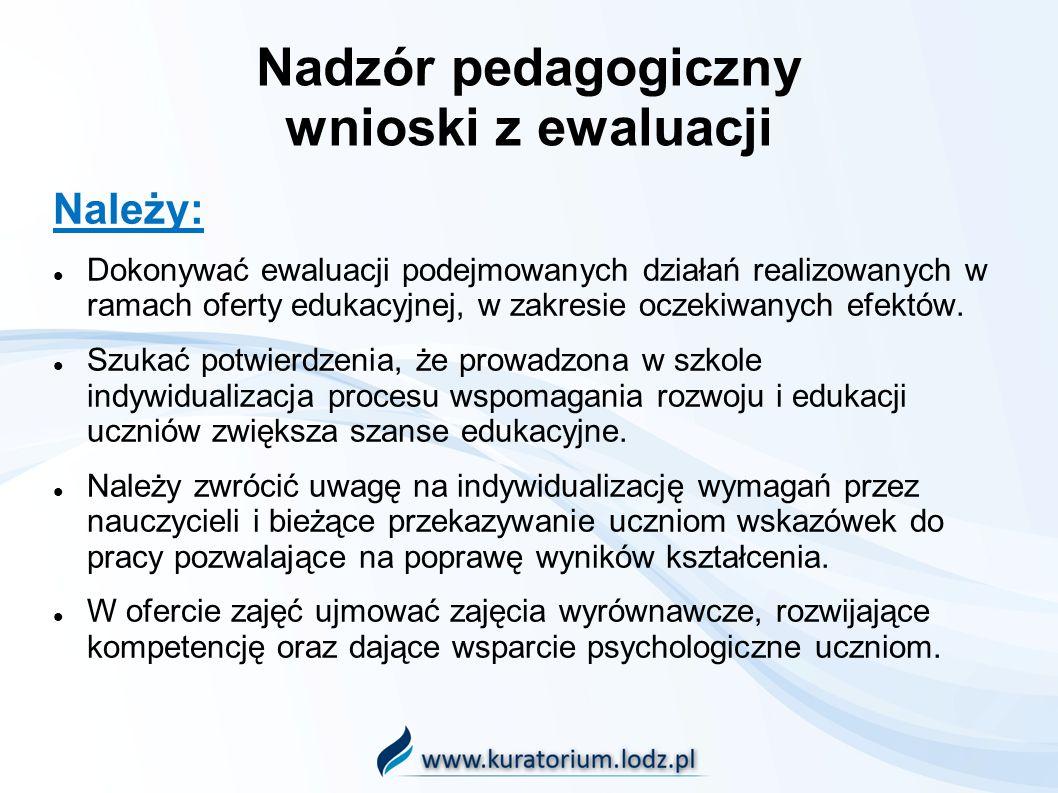 Nadzór pedagogiczny wnioski z ewaluacji Należy: Dokonywać ewaluacji podejmowanych działań realizowanych w ramach oferty edukacyjnej, w zakresie oczeki
