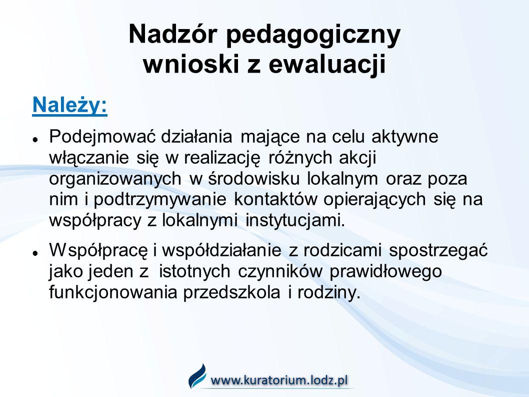 Nadzór pedagogiczny wnioski z ewaluacji Należy: Podejmować działania mające na celu aktywne włączanie się w realizację różnych akcji organizowanych w środowisku lokalnym oraz poza nim i podtrzymywanie kontaktów opierających się na współpracy z lokalnymi instytucjami.