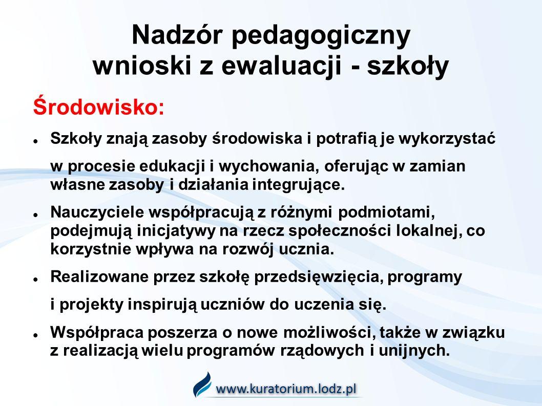 Nadzór pedagogiczny wnioski z ewaluacji - szkoły Środowisko: Szkoły znają zasoby środowiska i potrafią je wykorzystać w procesie edukacji i wychowania, oferując w zamian własne zasoby i działania integrujące.