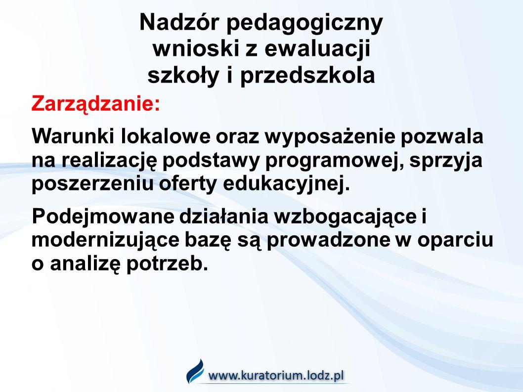 Nadzór pedagogiczny wnioski z ewaluacji szkoły i przedszkola Zarządzanie: Warunki lokalowe oraz wyposażenie pozwala na realizację podstawy programowej, sprzyja poszerzeniu oferty edukacyjnej.