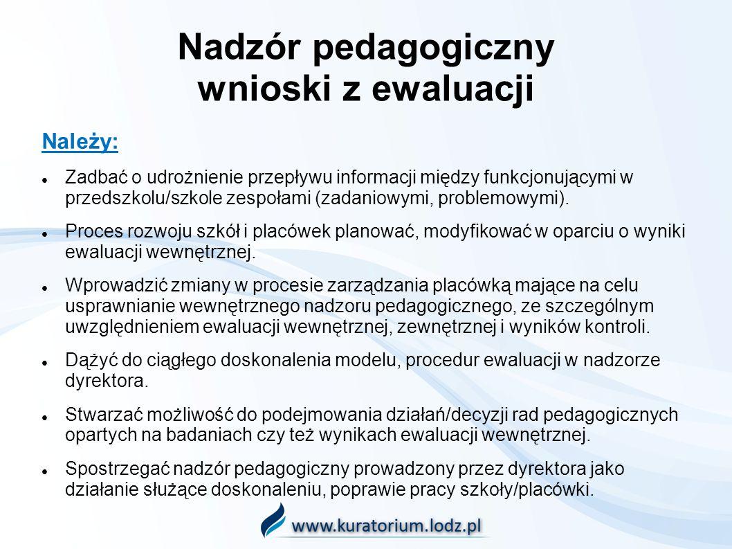 Nadzór pedagogiczny wnioski z ewaluacji Należy: Zadbać o udrożnienie przepływu informacji między funkcjonującymi w przedszkolu/szkole zespołami (zadan