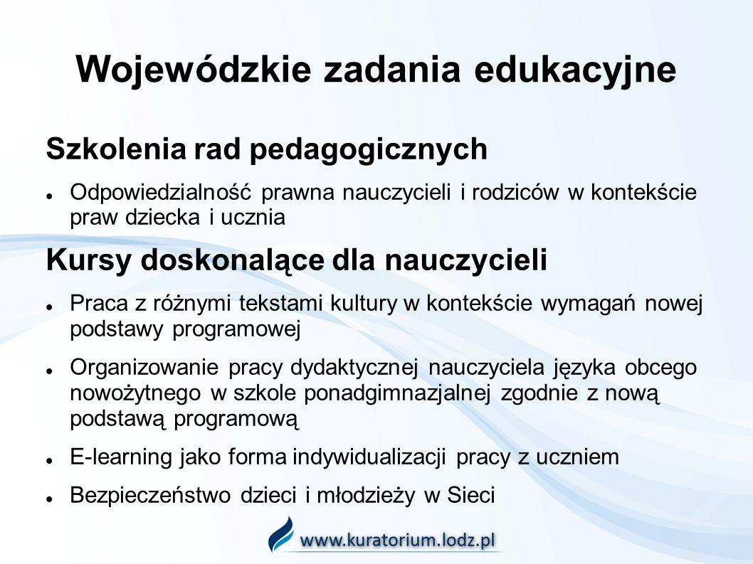 Wojewódzkie zadania edukacyjne Szkolenia rad pedagogicznych Odpowiedzialność prawna nauczycieli i rodziców w kontekście praw dziecka i ucznia Kursy do