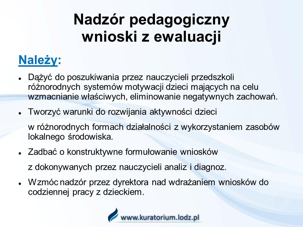 Nadzór pedagogiczny wnioski z ewaluacji Należy: Dążyć do poszukiwania przez nauczycieli przedszkoli różnorodnych systemów motywacji dzieci mających na celu wzmacnianie właściwych, eliminowanie negatywnych zachowań.