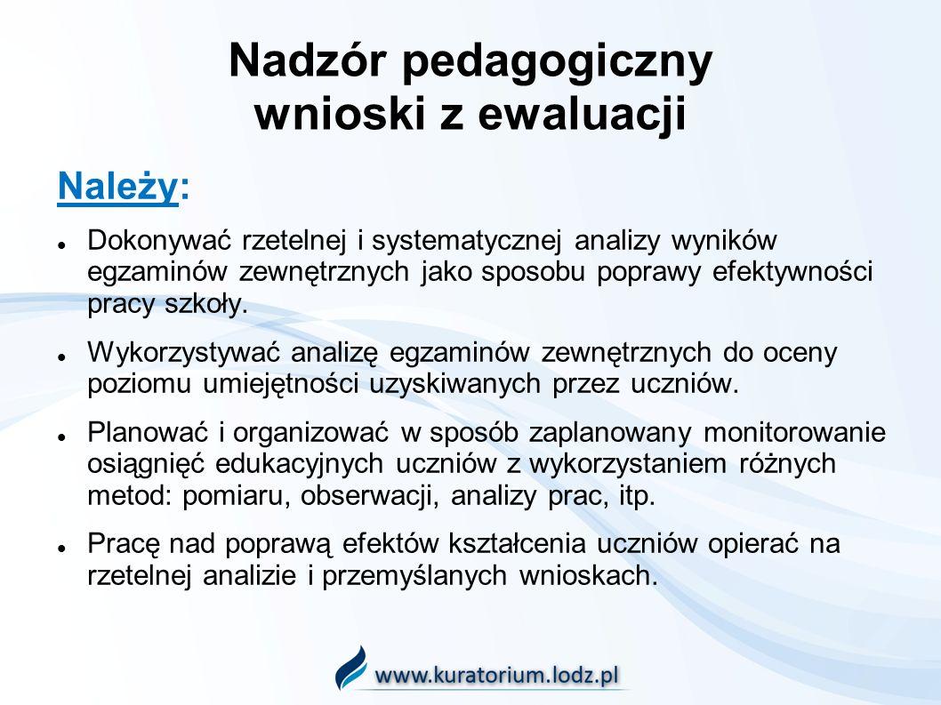 Nadzór pedagogiczny wnioski z ewaluacji Należy: Dokonywać rzetelnej i systematycznej analizy wyników egzaminów zewnętrznych jako sposobu poprawy efekt