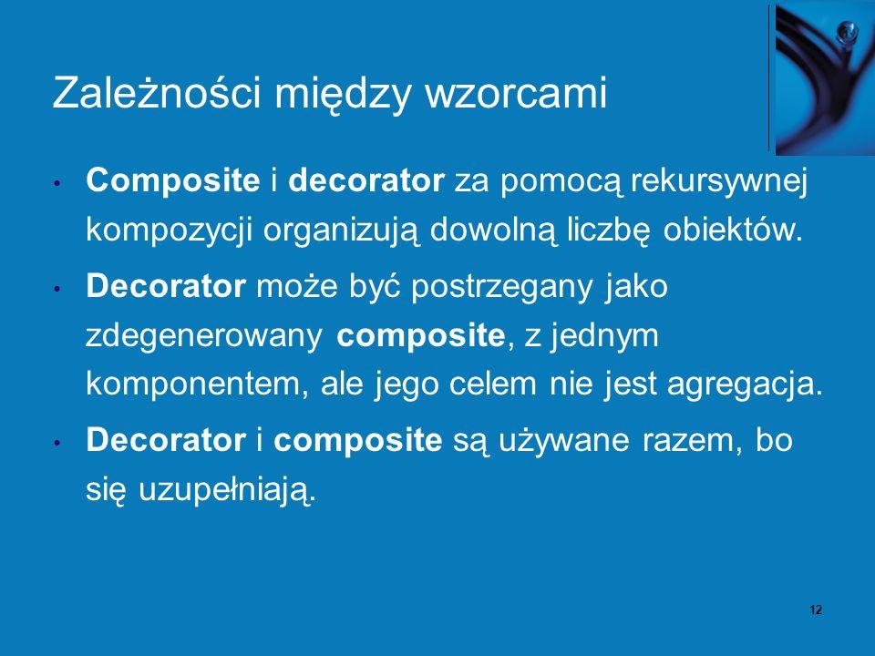 12 Zależności między wzorcami Composite i decorator za pomocą rekursywnej kompozycji organizują dowolną liczbę obiektów. Decorator może być postrzegan