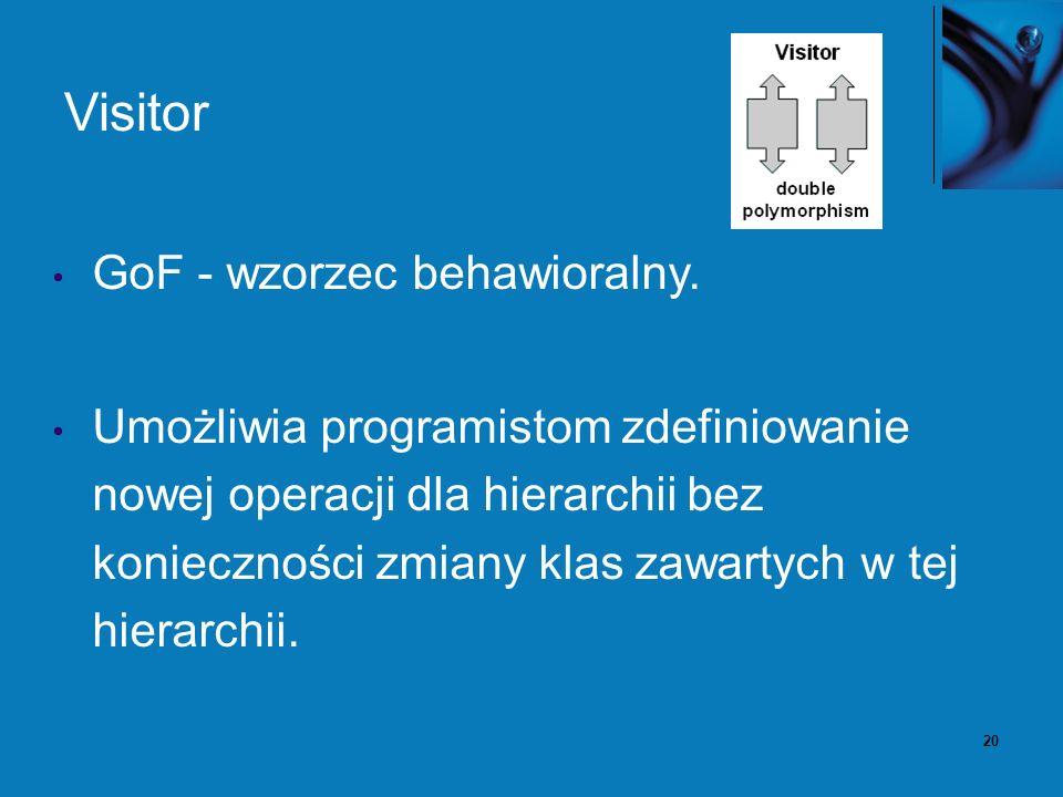 20 Visitor GoF - wzorzec behawioralny. Umożliwia programistom zdefiniowanie nowej operacji dla hierarchii bez konieczności zmiany klas zawartych w tej