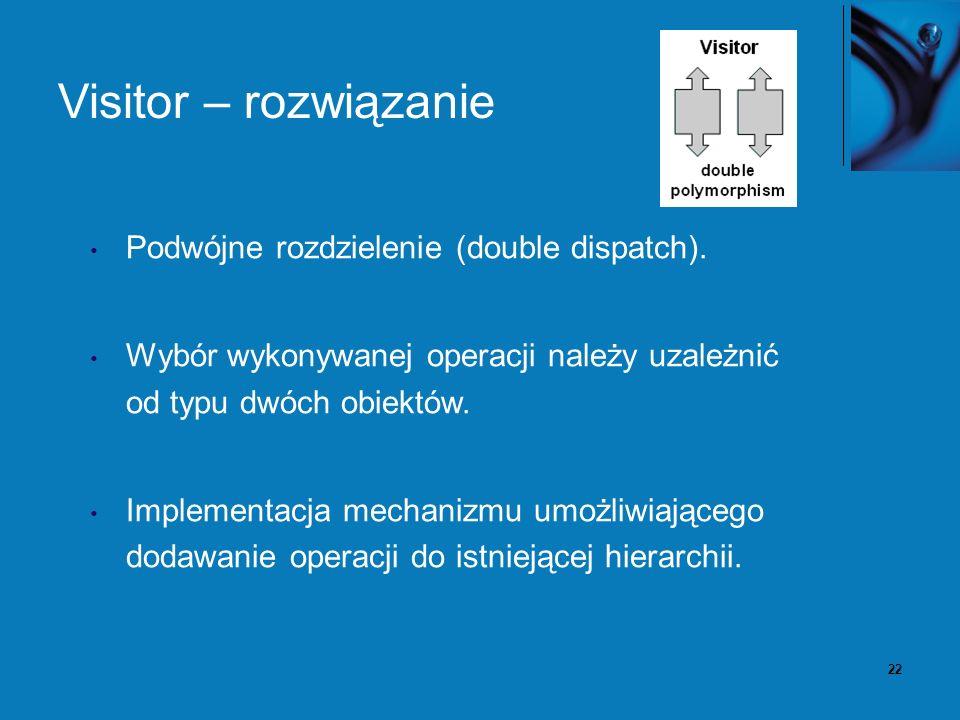 22 Visitor – rozwiązanie Podwójne rozdzielenie (double dispatch). Wybór wykonywanej operacji należy uzależnić od typu dwóch obiektów. Implementacja me