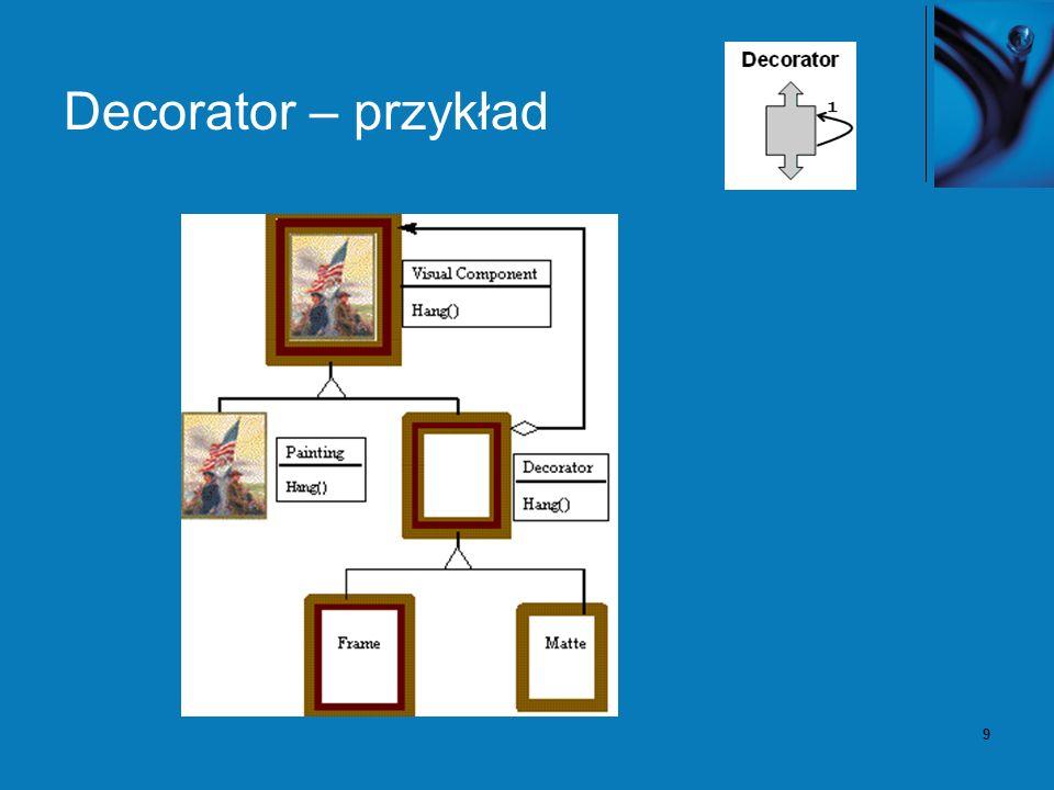 10 Decorator – konsekwencje Dostarcza większą elastyczność niż dziedziczenie.