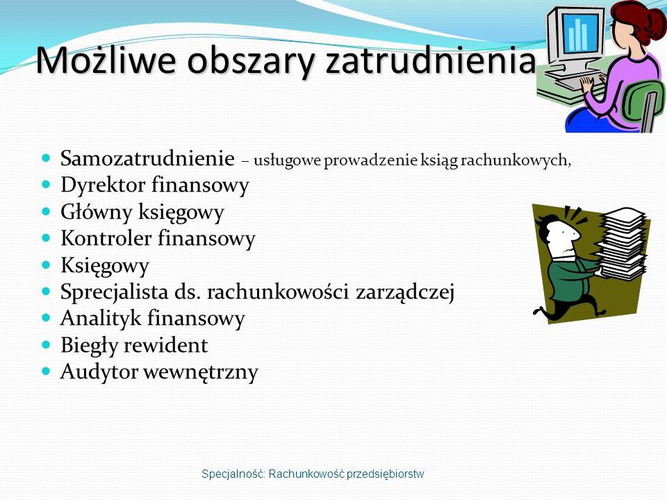 Możliwe obszary zatrudnienia Samozatrudnienie – usługowe prowadzenie ksiąg rachunkowych, Dyrektor finansowy Główny księgowy Kontroler finansowy Księgo