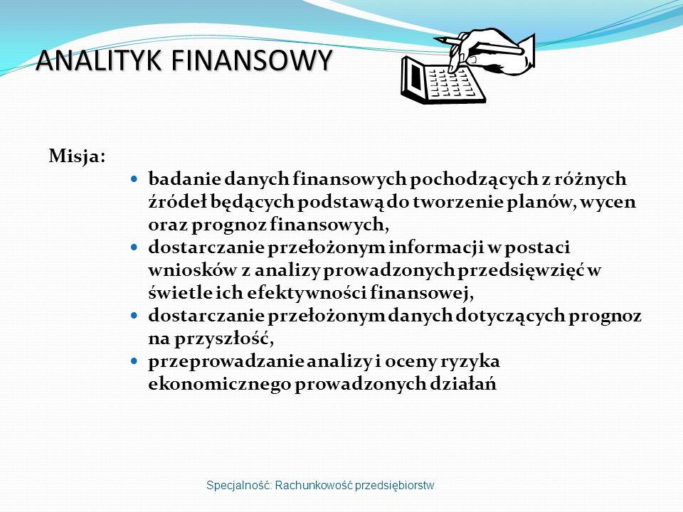 ANALITYK FINANSOWY Misja: badanie danych finansowych pochodzących z różnych źródeł będących podstawą do tworzenie planów, wycen oraz prognoz finansowy