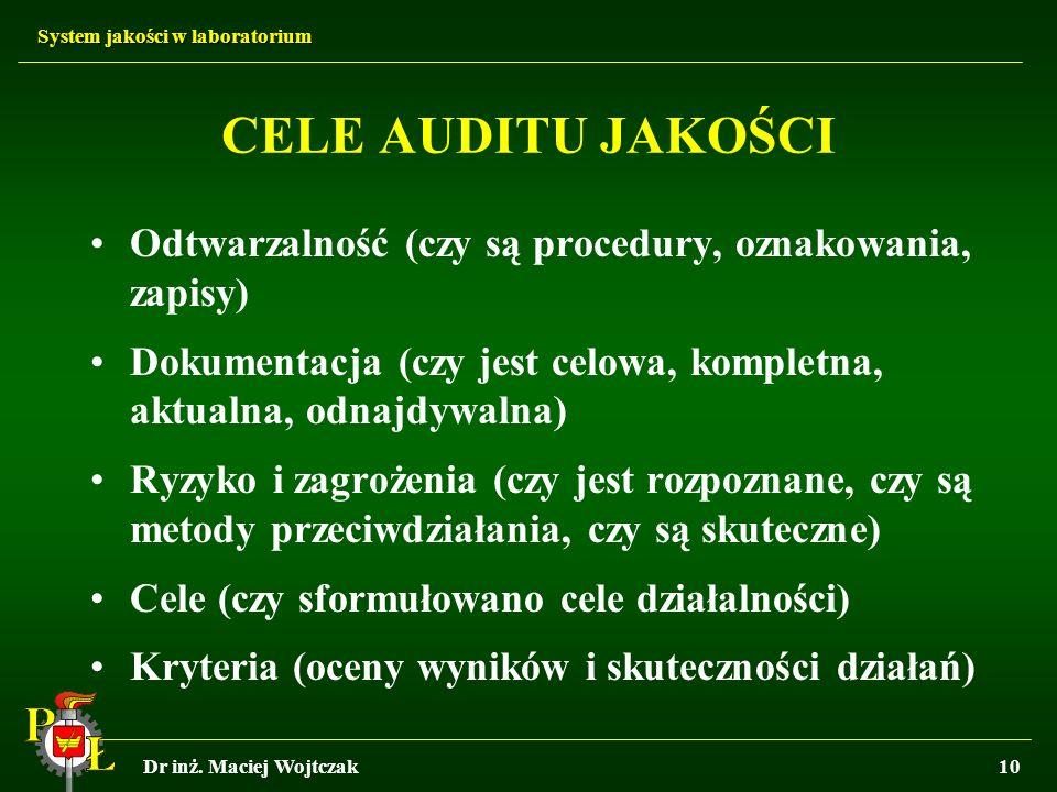 System jakości w laboratorium Dr inż. Maciej Wojtczak10 CELE AUDITU JAKOŚCI Odtwarzalność (czy są procedury, oznakowania, zapisy) Dokumentacja (czy je