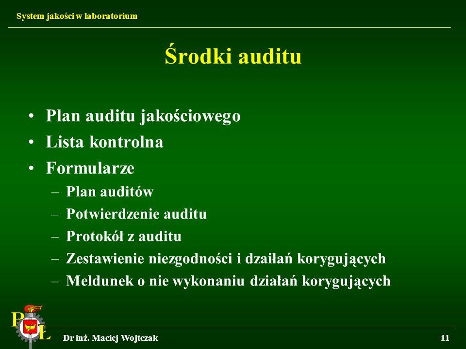 System jakości w laboratorium Dr inż. Maciej Wojtczak11 Środki auditu Plan auditu jakościowego Lista kontrolna Formularze –Plan auditów –Potwierdzenie