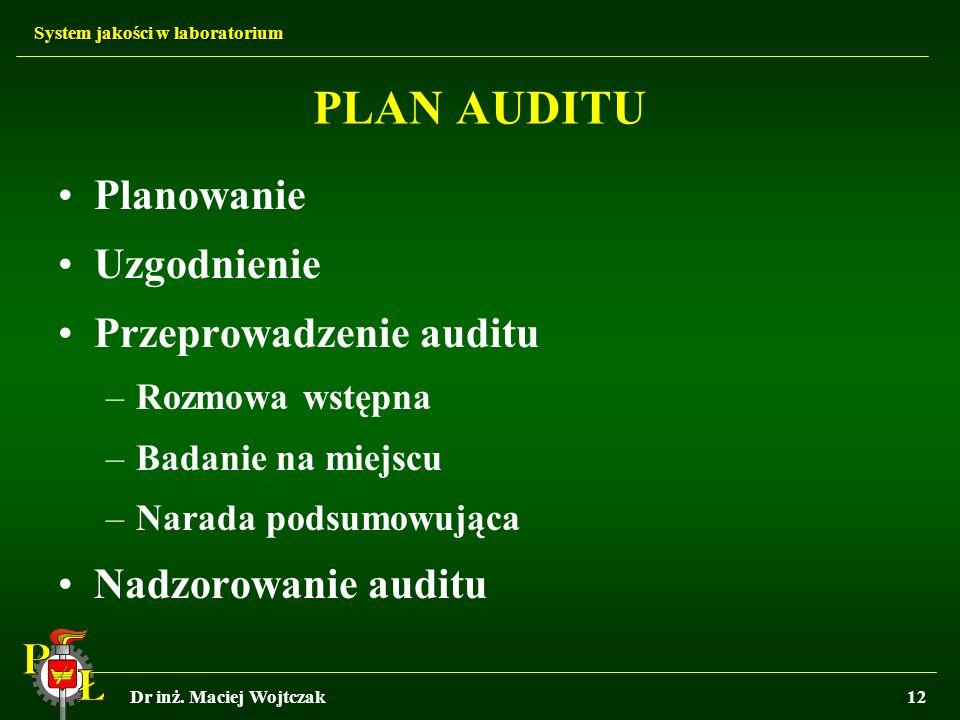System jakości w laboratorium Dr inż. Maciej Wojtczak12 PLAN AUDITU Planowanie Uzgodnienie Przeprowadzenie auditu –Rozmowa wstępna –Badanie na miejscu