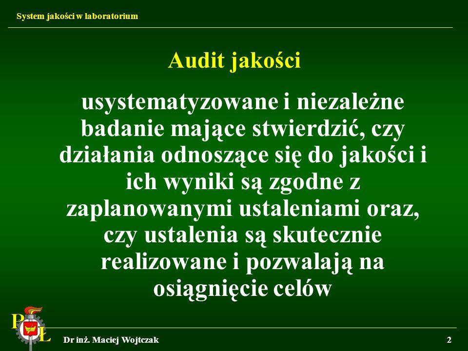 System jakości w laboratorium Dr inż. Maciej Wojtczak2 Audit jakości usystematyzowane i niezależne badanie mające stwierdzić, czy działania odnoszące