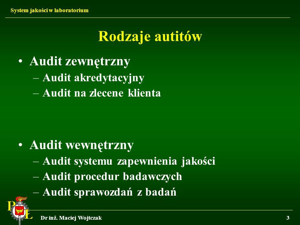 System jakości w laboratorium Dr inż. Maciej Wojtczak3 Rodzaje autitów Audit zewnętrzny –Audit akredytacyjny –Audit na zlecene klienta Audit wewnętrzn
