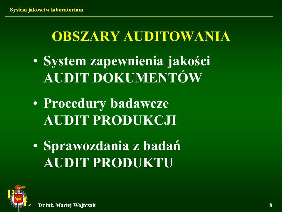 System jakości w laboratorium Dr inż. Maciej Wojtczak8 OBSZARY AUDITOWANIA System zapewnienia jakości AUDIT DOKUMENTÓW Procedury badawcze AUDIT PRODUK