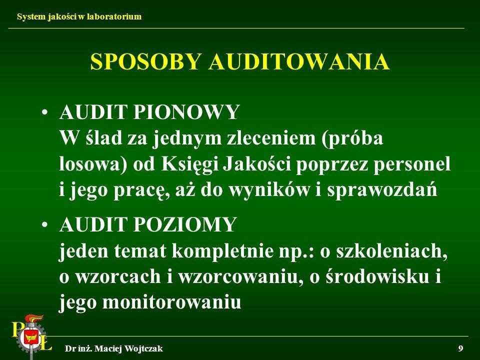 System jakości w laboratorium Dr inż. Maciej Wojtczak9 SPOSOBY AUDITOWANIA AUDIT PIONOWY W ślad za jednym zleceniem (próba losowa) od Księgi Jakości p
