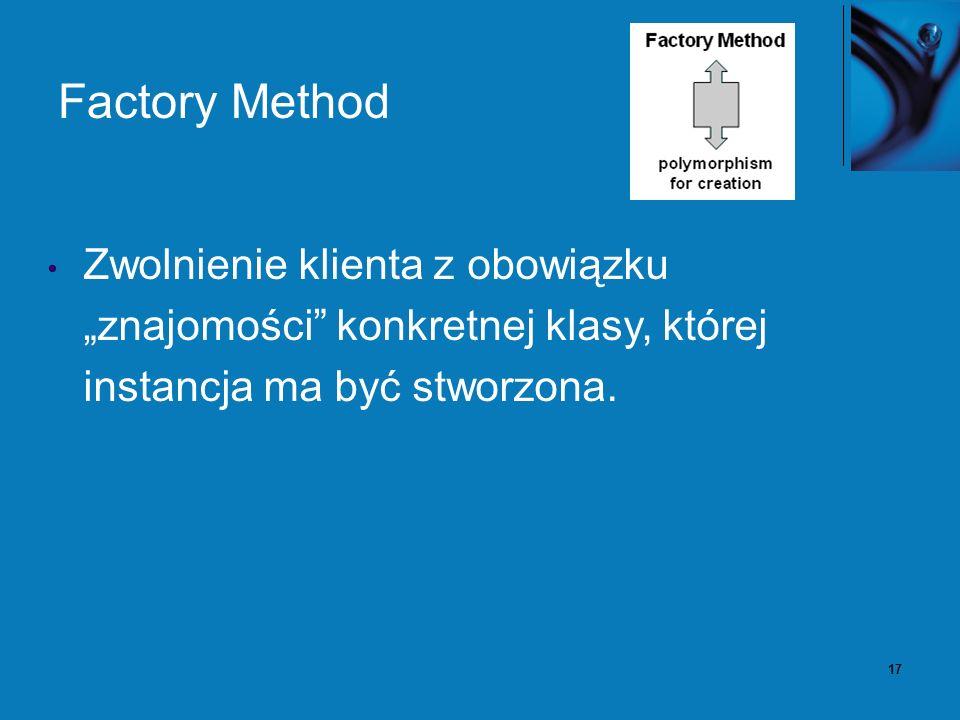 17 Factory Method Zwolnienie klienta z obowiązku znajomości konkretnej klasy, której instancja ma być stworzona.