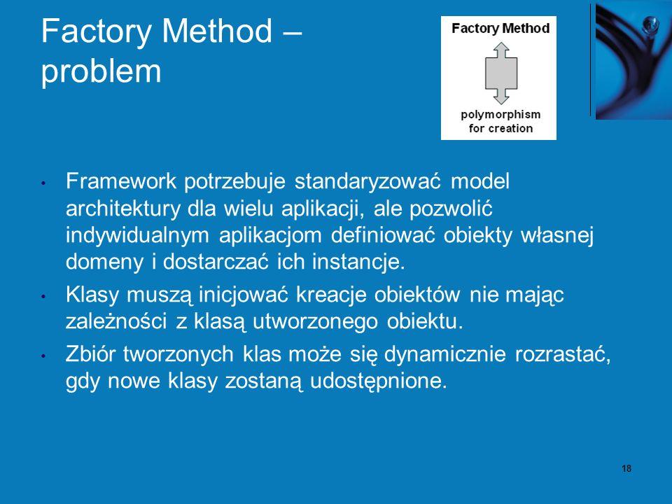 18 Factory Method – problem Framework potrzebuje standaryzować model architektury dla wielu aplikacji, ale pozwolić indywidualnym aplikacjom definiowa
