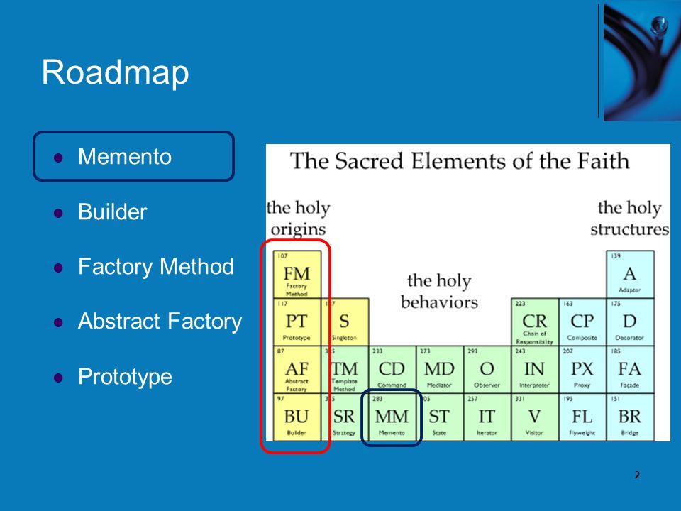 2 Roadmap Memento Builder Factory Method Abstract Factory Prototype