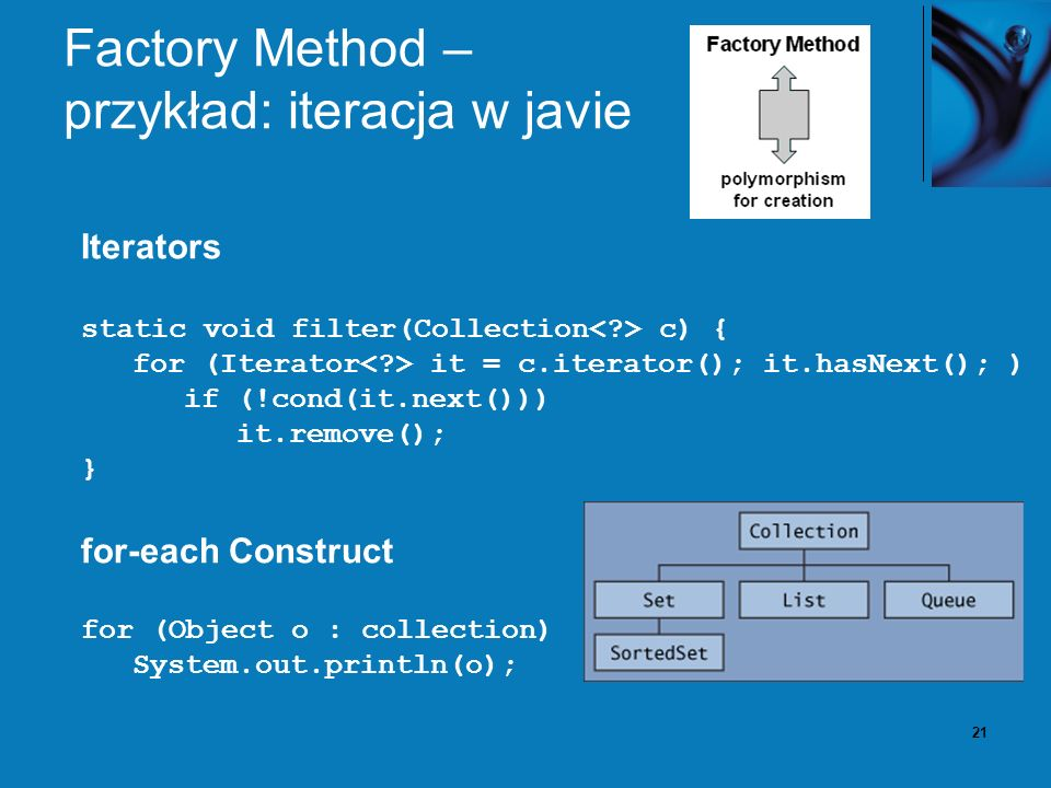 21 Factory Method – przykład: iteracja w javie Iterators static void filter(Collection c) { for (Iterator it = c.iterator(); it.hasNext(); ) if (!cond