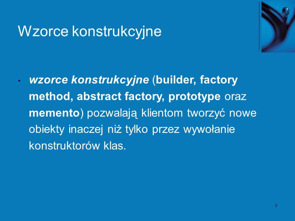 3 Wzorce konstrukcyjne wzorce konstrukcyjne (builder, factory method, abstract factory, prototype oraz memento) pozwalają klientom tworzyć nowe obiekt